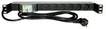 """PDU6p+T1U-16D - Bandeau d'alimentation 19"""" 6 prises noir + disjoncteur 30mA"""
