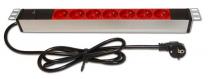 """PDU7p+T1U-16 - Bandeau d'alimentation 19"""" 7 prises rouge + voyant lumineux"""