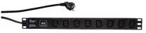 """PDU8pC13-1U-16P - Bandeau d'alimentation 19"""" 8 prises noir C13, protégée"""